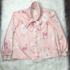 Vintage | Floral Pink Blouse